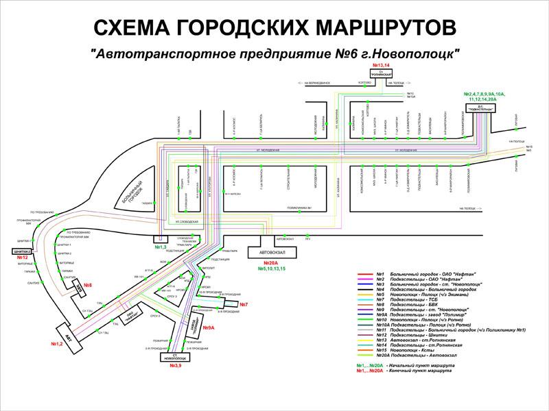 Схема жвижения транспорта Новополоцка